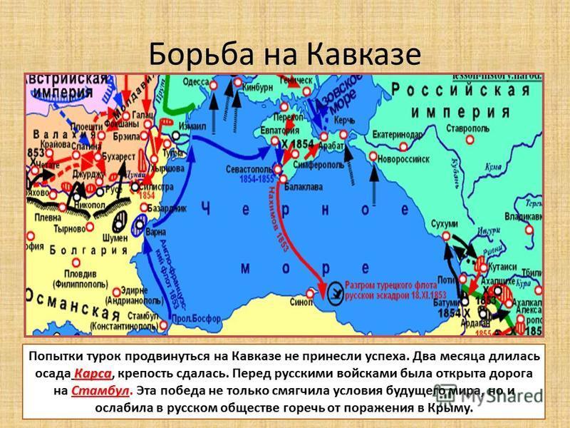 Борьба на Кавказе Карса Стамбул Попытки турок продвинуться на Кавказе не принесли успеха. Два месяца длилась осада Карса, крепость сдалась. Перед русскими войсками была открыта дорога на Стамбул. Эта победа не только смягчила условия будущего мира, н