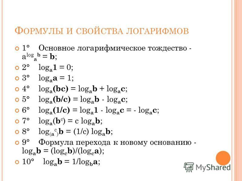 Ф ОРМУЛЫ И СВОЙСТВА ЛОГАРИФМОВ 1° Основное логарифмическое тождество - a log a b = b ; 2° log a 1 = 0; 3° log a a = 1; 4° log a (bc) = log a b + log a c ; 5° log a (b/c) = log a b - log a c ; 6° log a (1/c) = log a 1 - log a c = - log a c ; 7° log a