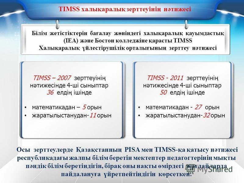 . TIMSS халықаралық зерттеуінің нәтижесі Білім жетістіктерін бағалау жөніндегі халықаралық қауымдастық (IEA) және Бостон колледжіне қарасты TIMSS Халықаралық үйлестірушілік орталығының зерттеу нәтижесі TIMSS - 2011 зерттеуінің нәтижесінде 4-ші сыныпт