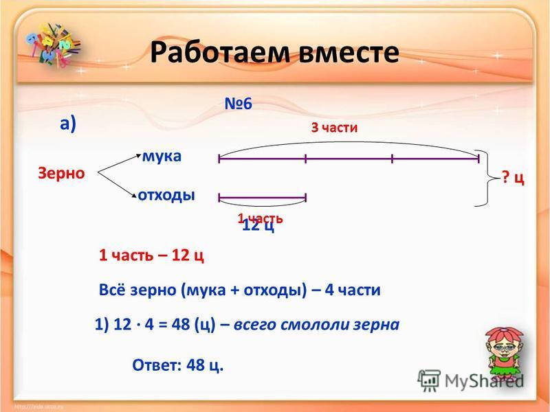 Работаем вместе 6 мука отходы Зерно а) 12 ц 3 части 1 часть ? ц 1 часть – 12 ц Всё зерно (мука + отходы) – 4 части 1) 12 · 4 = 48 (ц) – всего смололи зерна Ответ: 48 ц.