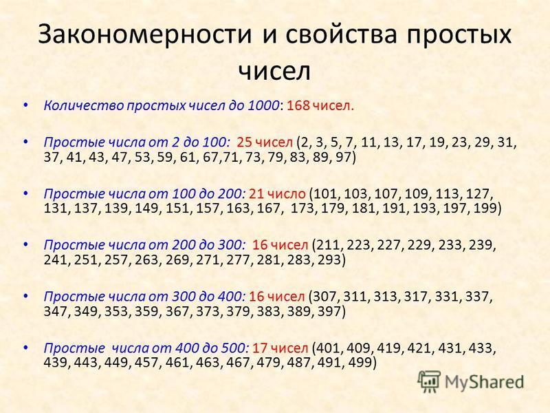 Закономерности и свойства простых чисел Количество простых чисел до 1000: 168 чисел. Простые числа от 2 до 100: 25 чисел (2, 3, 5, 7, 11, 13, 17, 19, 23, 29, 31, 37, 41, 43, 47, 53, 59, 61, 67,71, 73, 79, 83, 89, 97) Простые числа от 100 до 200: 21 ч