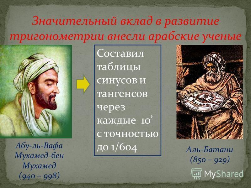 Значительный вклад в развитие тригонометрии внесли арабские ученые Абу-ль-Вафа Мухамед-бен Мухамед (940 – 998) Аль-Батани (850 – 929) Составил таблицы синусов и тангенсов через каждые 10 с точностью до 1/604