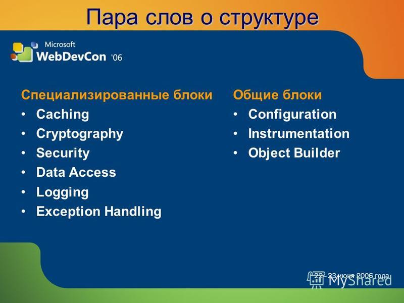 Пара слов о структуре Специализированные блоки Caching Cryptography Security Data Access Logging Exception Handling Общие блоки Configuration Instrumentation Object Builder