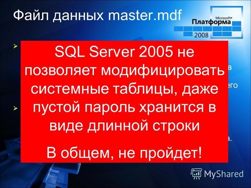 Файл данных master.mdf Сценарий Очень умный и очень хорошо подготовленный злоумышленник проскальзывает незамеченным в ваш центр обработки данных. Он подходит к вашему компьютеру с SQL Server и копирует с него master Решение Если кто-то получил физиче