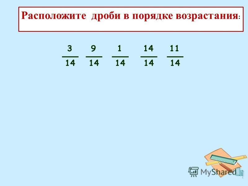 Каждый может за версту Видеть дробную черту. Над чертой – _________, знайте, Под чертою – __________. Дробь такую, непременно, Надо звать ____________. Число, которое показывает, на сколько равных частей разделили целое, называется ________. Число, к