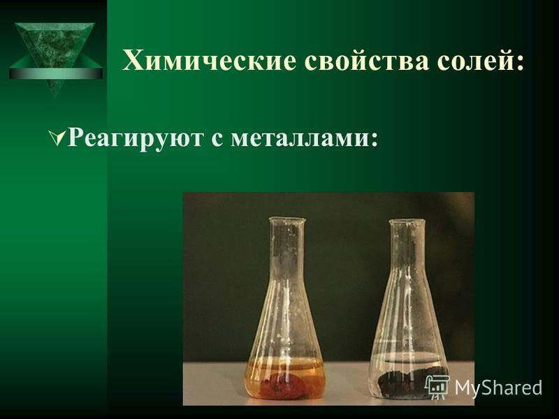 Химические свойства солей: 1. Реагируют с металлами: Fe + CuSO4 Cu + FeSO4 2. Реагируют с щелочами: СuSO4 + 2NaOH Cu(OH)2 + Na2SO4 3. Реагируют с кислотами: AgNO3 + HCl AgCl + HNO3 4. Реагируют друг с другом: AlCl3 + K3PO4 AlPO4 + 3KCl