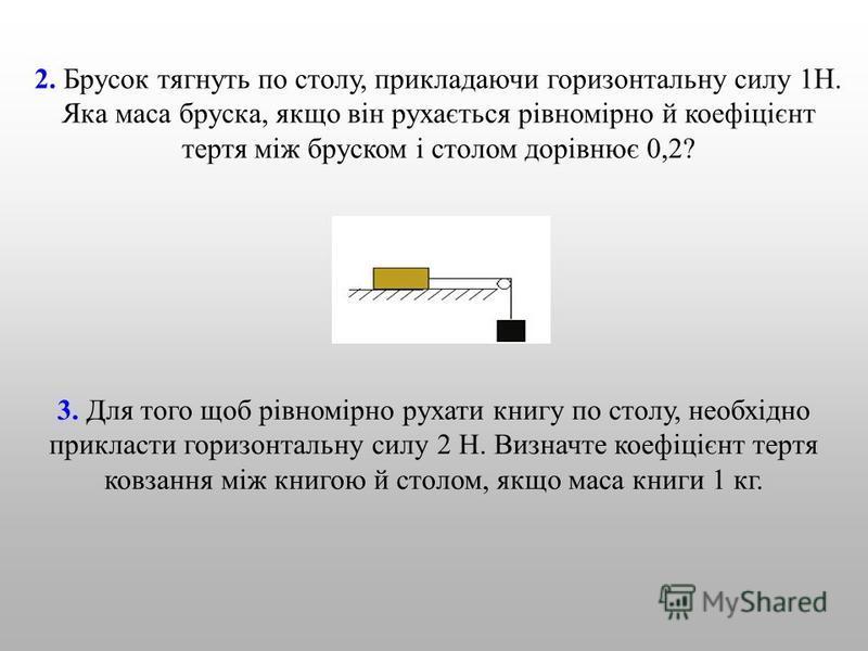 2. Брусок тягнуть по столу, прикладаючи горизонтальну силу 1Н. Яка маса бруска, якщо він рухається рівномірно й коефіцієнт тертя між бруском і столом дорівнює 0,2? 3. Для того щоб рівномірно рухати книгу по столу, необхідно прикласти горизонтальну си