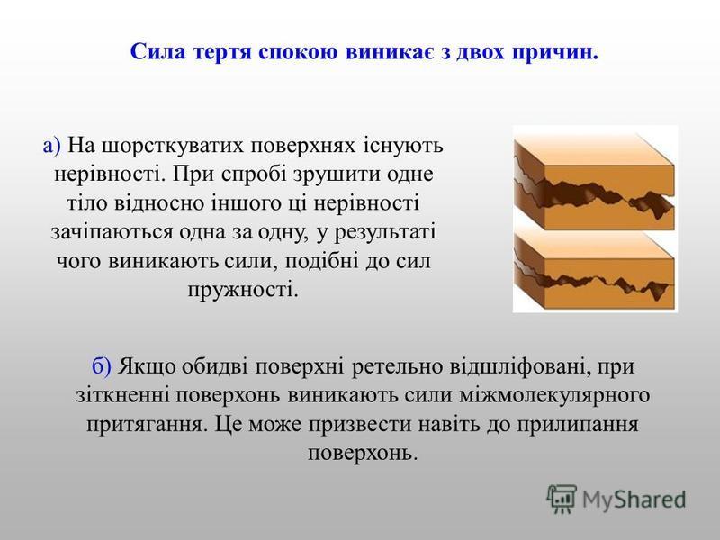 Сила тертя спокою виникає з двох причин. б) Якщо обидві поверхні ретельно відшліфовані, при зіткненні поверхонь виникають сили міжмолекулярного притягання. Це може призвести навіть до прилипання поверхонь. а) На шорсткуватих поверхнях існують нерівно