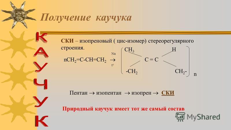 5. Получение каучука. С И Н Т Е Т И Ч Е С К И Й К А У Ч У К (1932 год С.В.ЛЕБЕДЕВ г. Ярославль) СН 2 = СН - СН = СН 2 Na t° -CH 2 CH 2 - C = CC = C HH цис С 2 Н 5 ОН бутан Бутилен бутадиен СКД СКД - бутадиеновый