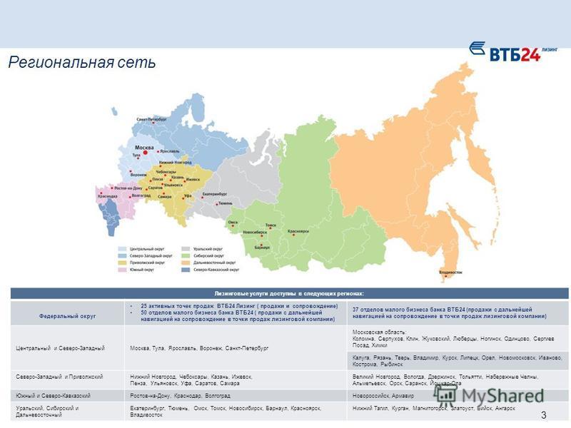 Региональная сеть Лизинговые услуги доступны в следующих регионах: Федеральный округ 25 активных точек продаж ВТБ24 Лизинг ( продажи и сопровождение) 50 отделов малого бизнеса банка ВТБ24 ( продажи с дальнейшей навигацией на сопровождение в точки про