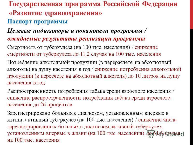 Государственная программа Российской Федерации «Развитие здравоохранения» Паспорт программы Целевые индикаторы и показатели программы / ожидаемые результаты реализации программы Смертность от туберкулеза (на 100 тыс. населения) / снижение смертности