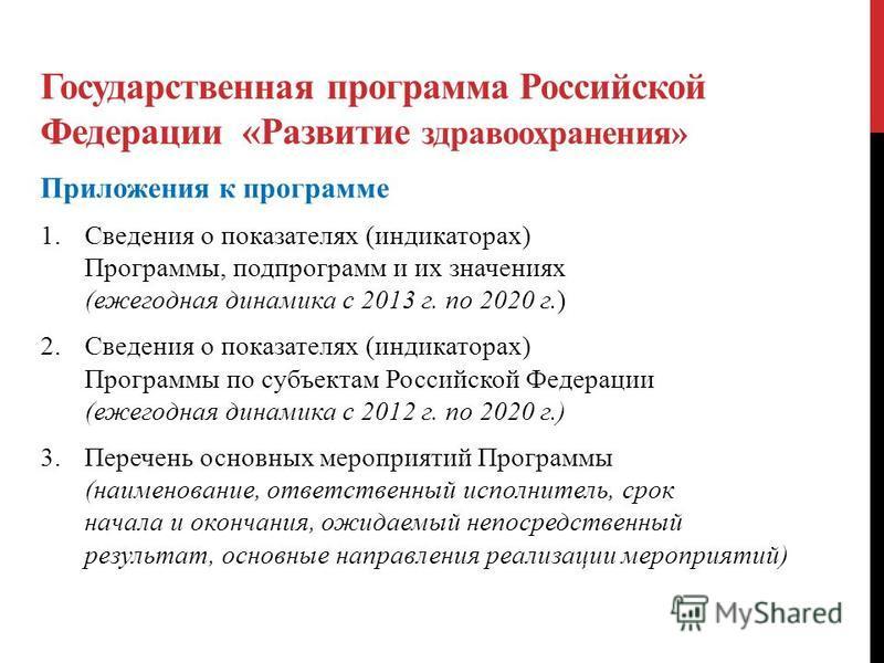 Государственная программа Российской Федерации «Развитие здравоохранения» Приложения к программе 1. Сведения о показателях (индикаторах) Программы, подпрограмм и их значениях (ежегодная динамика с 2013 г. по 2020 г.) 2. Сведения о показателях (индика
