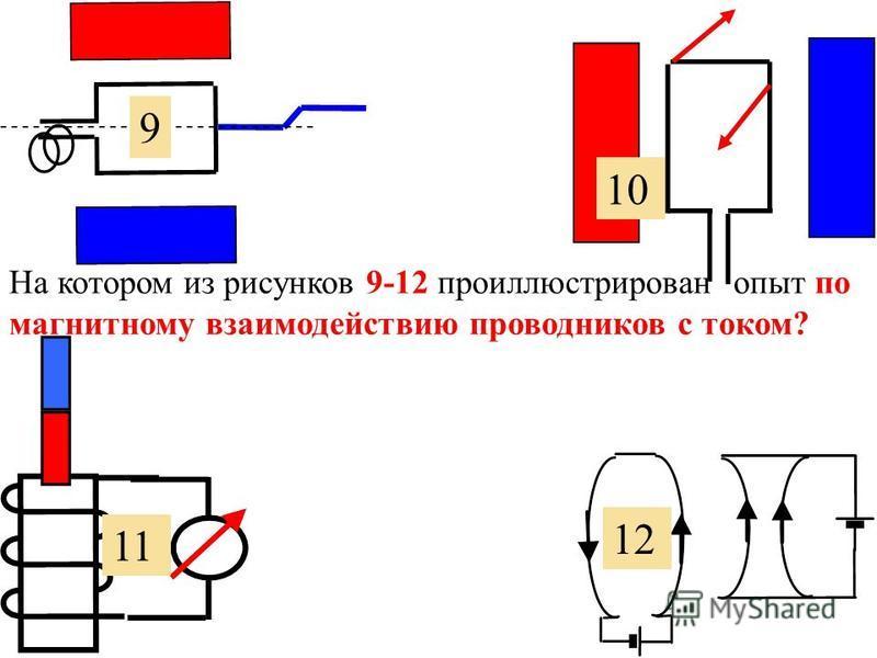 7. На котором из рисунков 5-8 проиллюстрировано действие магнитного поля на проводник с током? 6 7 8 5