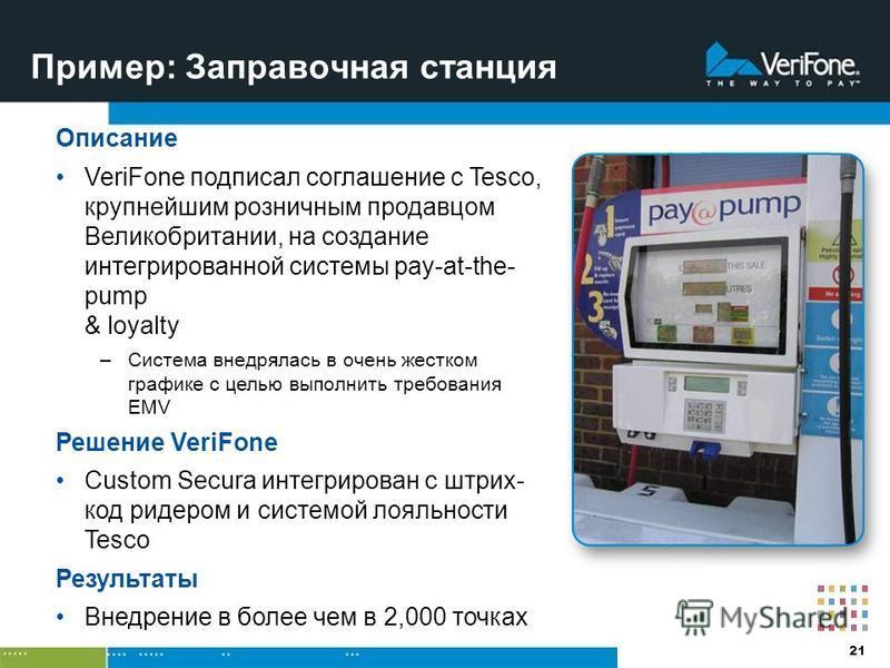 21 Пример: Заправочная станция Описание VeriFone подписал соглашение с Tesco, крупнейшим розничным продавцом Великобритании, на создание интегрированной системы pay-at-the- pump & loyalty –Система внедрялась в очень жестком графике с целью выполнить