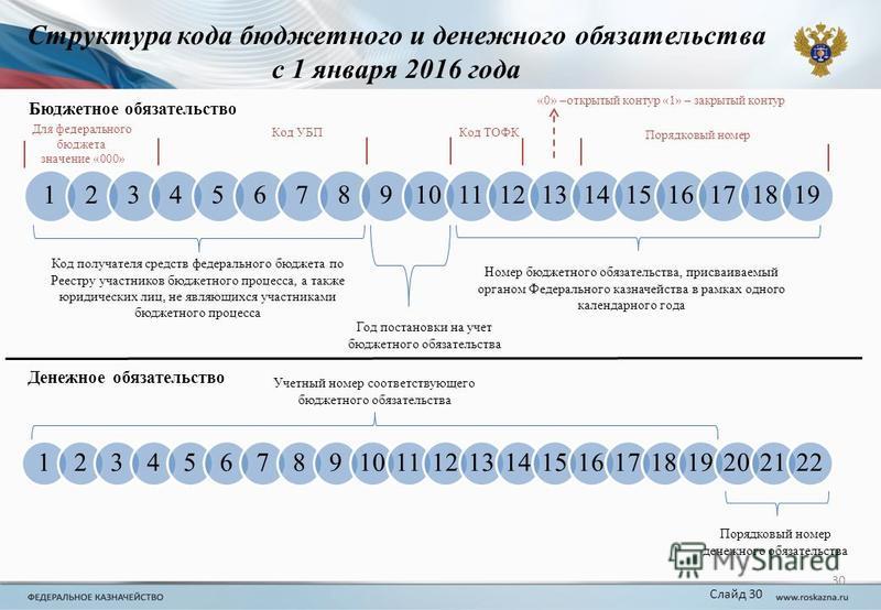 Структура кода бюджетного и денежного обязательства с 1 января 2016 года 12345678910111213141516171819 30 Код получателя средств федерального бюджета по Реестру участников бюджетного процесса, а также юридических лиц, не являющихся участниками бюджет