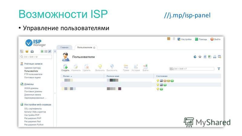 Возможности ISP //j.mp/isp-panel Управление пользователями