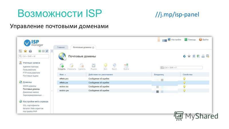 Возможности ISP //j.mp/isp-panel Управление почтовыми доменами