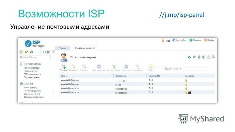 Возможности ISP //j.mp/isp-panel Управление почтовыми адресами