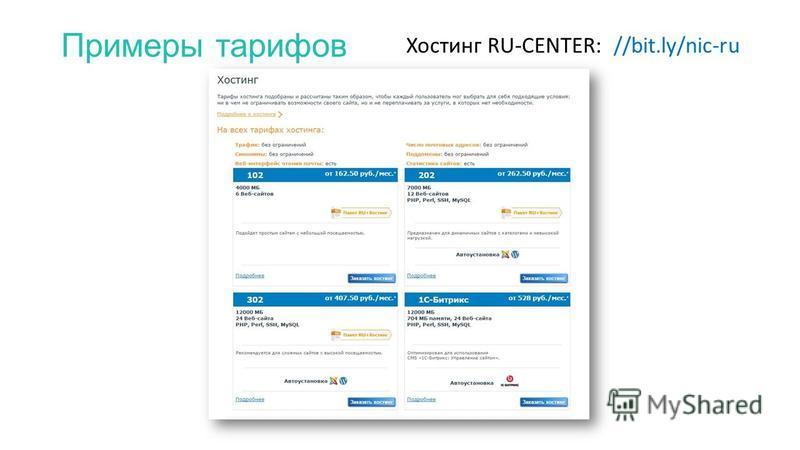 Примеры тарифов Хостинг RU-CENTER: //bit.ly/nic-ru