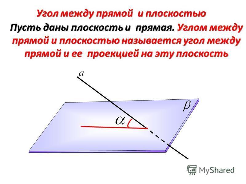Пусть даны плоскость и прямая. Углом между прямой и плоскостью называется угол между прямой и ее проекцией на эту плоскость Угол между прямой и плоскостью