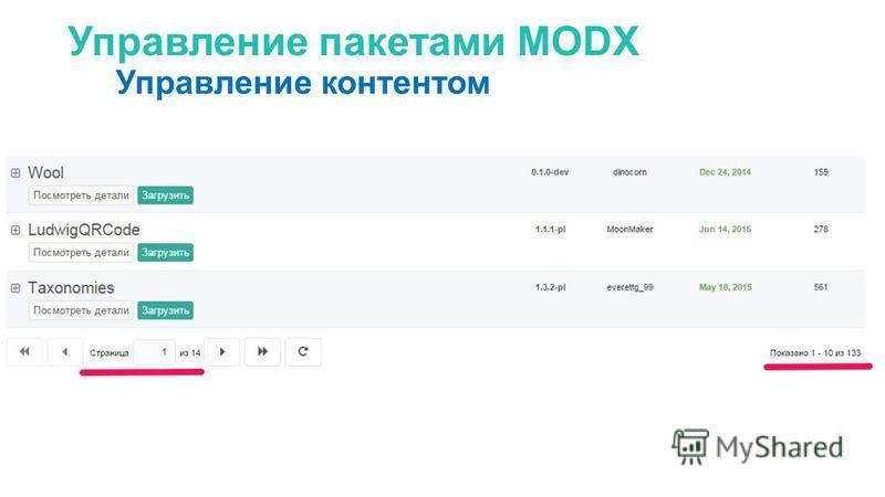 Управление пакетами MODX Управление контентом