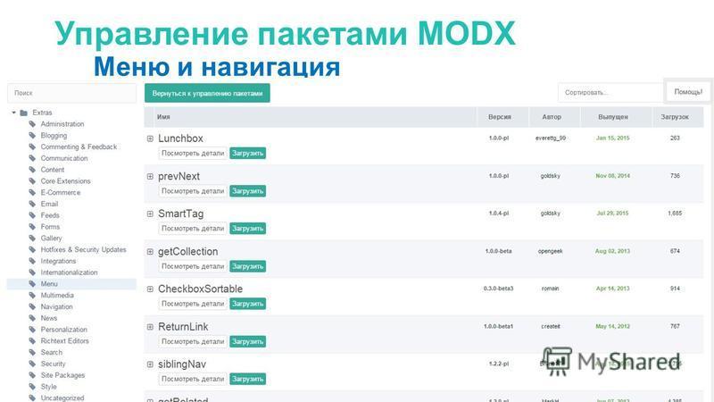 Управление пакетами MODX Меню и навигация