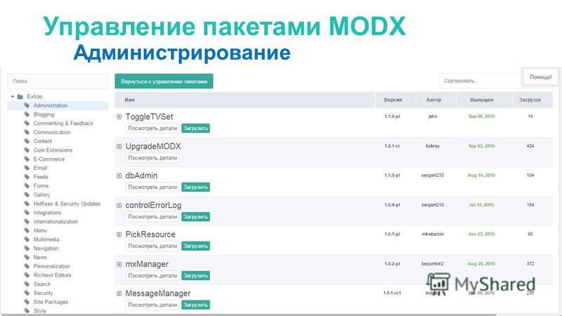 Управление пакетами MODX Администрирование