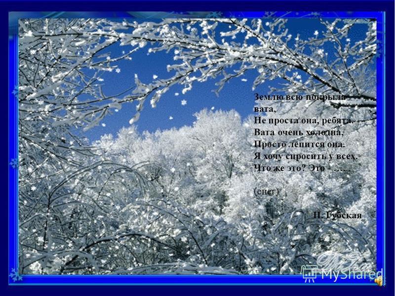 Вот уж месяц снег идёт, Скоро встретим Новый год, В снежной спячке вся природа. Подскажи мне время года. (зима)