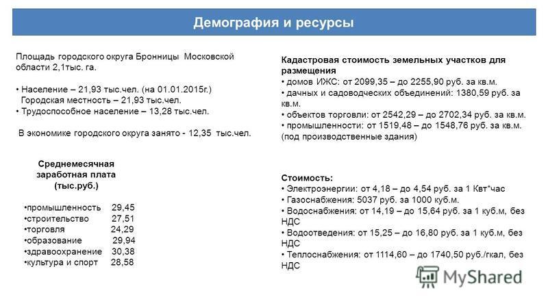 Площадь городского округа Бронницы Московской области 2,1 тыс. га. Население – 21,93 тыс.чел. (на 01.01.2015 г.) Городская местность – 21,93 тыс.чел. Трудоспособное население – 13,28 тыс.чел. В экономике городского округа занято - 12,35 тыс.чел. Сред