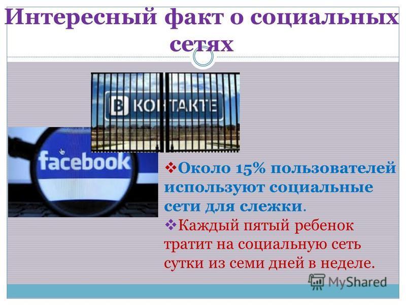 Интересный факт о социальных сетях Около 15% пользователей используют социальные сети для слежки. Каждый пятый ребенок тратит на социальную сеть сутки из семи дней в неделе.