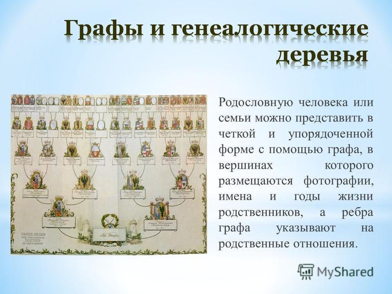 Родословную человека или семьи можно представить в четкой и упорядоченной форме с помощью графа, в вершинах которого размещаются фотографии, имена и годы жизни родственников, а ребра графа указывают на родственные отношения.