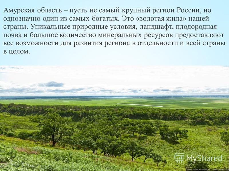 Амурская область – пусть не самый крупный регион России, но однозначно один из самых богатых. Это «золотая жила» нашей страны. Уникальные природные условия, ландшафт, плодородная почва и большое количество минеральных ресурсов предоставляют все возмо