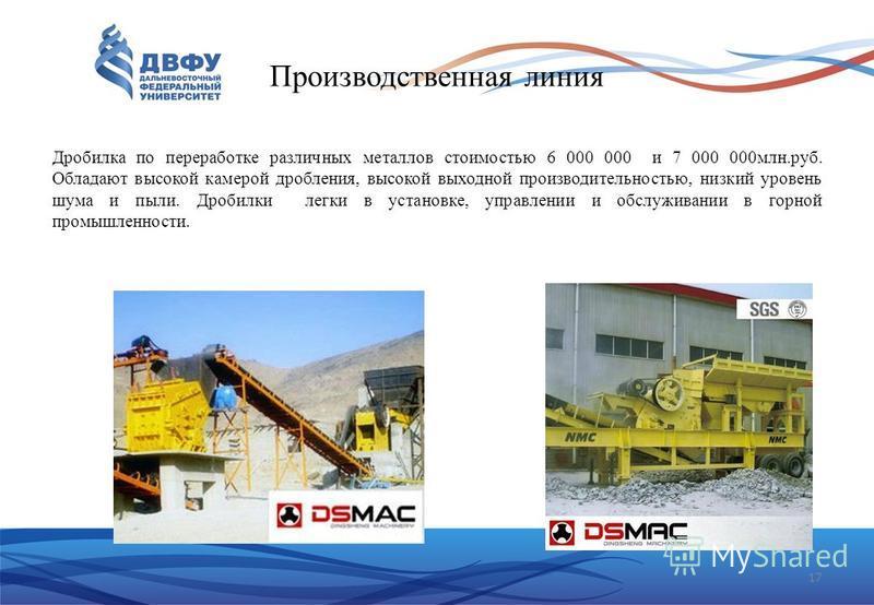 17 Производственная линия Дробилка по переработке различных металлов стоимостью 6 000 000 и 7 000 000 млн.руб. Обладают высокой камерой дробления, высокой выходной производительностью, низкий уровень шума и пыли. Дробилки легки в установке, управлени