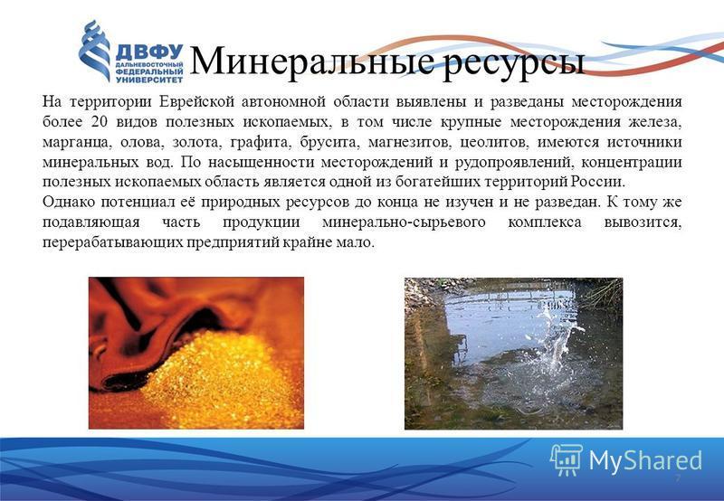 7 Минеральные ресурсы На территории Еврейской автономной области выявлены и разведаны месторождения более 20 видов полезных ископаемых, в том числе крупные месторождения железа, марганца, олова, золота, графита, брусита, магнезитов, цеолитов, имеются