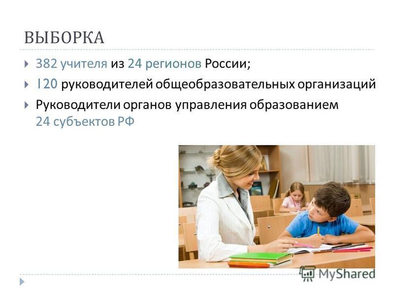 ВЫБОРКА 382 учителя из 24 регионов России ; 120 руководителей общеобразовательных организаций Руководители органов управления образованием 24 субъектов РФ