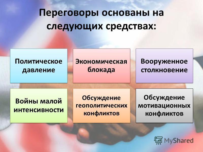 Переговоры основаны на следующих средствах: Политическое давление Экономическая блокада Вооруженное столкновение Войны малой интенсивности Обсуждение геополитических конфликтов Обсуждение мотивационных конфликтов