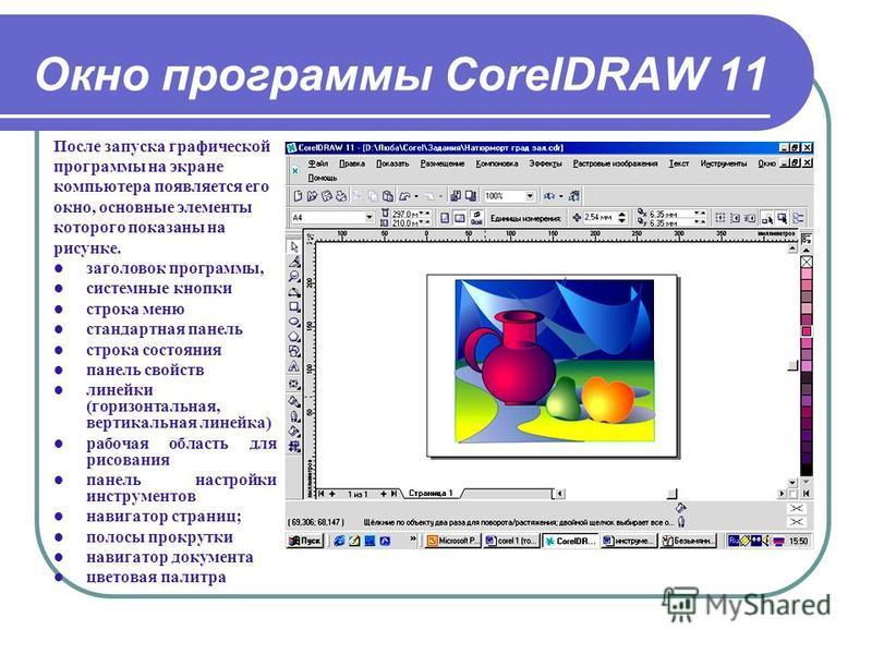 Окно программы CorelDRAW 11 После запуска графической программы на экране компьютера появляется его окно, основные элементы которого показаны на рисунке. заголовок программы, системные кнопки строка меню стандартная панель строка состояния панель сво