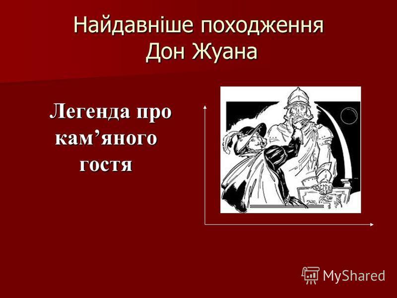 Найдавніше походження Дон Жуана Легенда про камяного гостя Легенда про камяного гостя