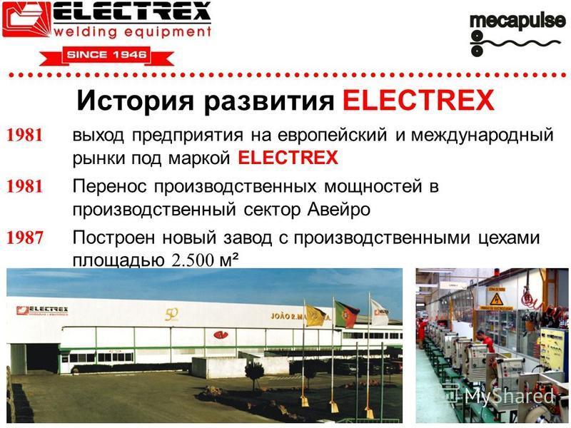История развития ELECTREX 1981 выход предприятия на европейский и международный рынки под маркой ELECTREX 1981 Перенос производственных мощностей в производственный сектор Авейро 1987 Построен новый завод с производственными цехами площадью 2.500 м²