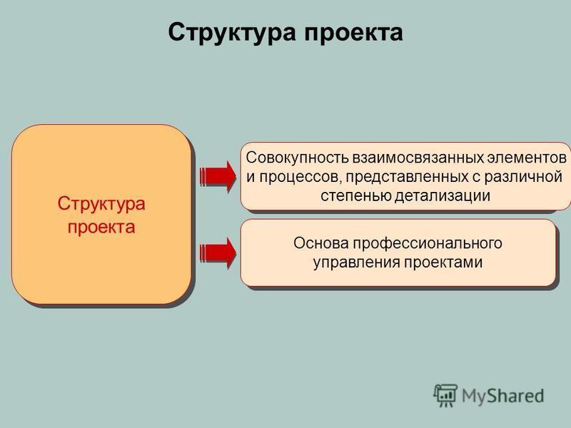 Структура проекта Совокупность взаимосвязанных элементов и процессов, представленных с различной степенью детализации Основа профессионального управления проектами