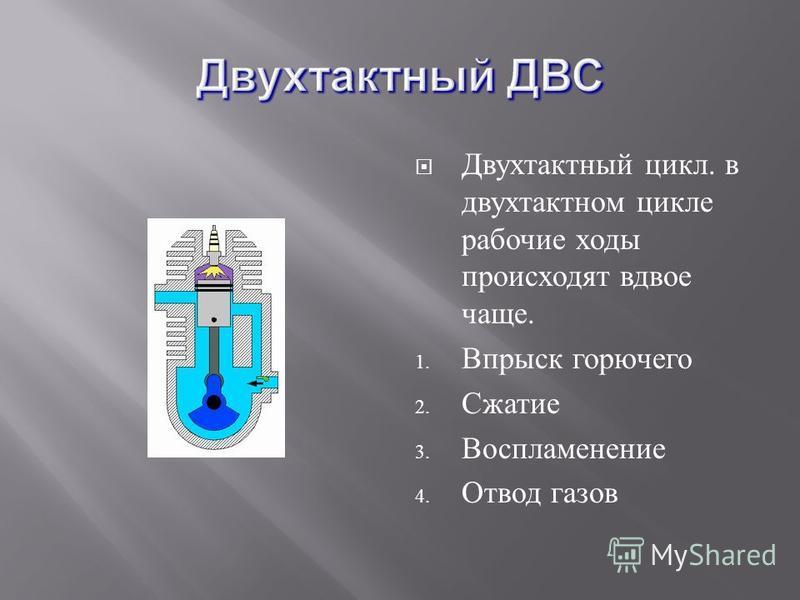 Двухтактный цикл. в двухтактном цикле рабочие ходы происходят вдвое чаще. 1. Впрыск горючего 2. Сжатие 3. Воспламенение 4. Отвод газов