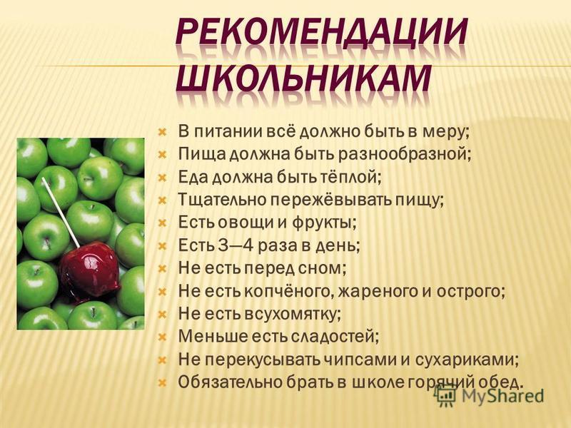 В питании всё должно быть в меру; Пища должна быть разнообразной; Еда должна быть тёплой; Тщательно пережёвывать пищу; Есть овощи и фрукты; Есть 34 раза в день; Не есть перед сном; Не есть копчёного, жареного и острого; Не есть всухомятку; Меньше ест