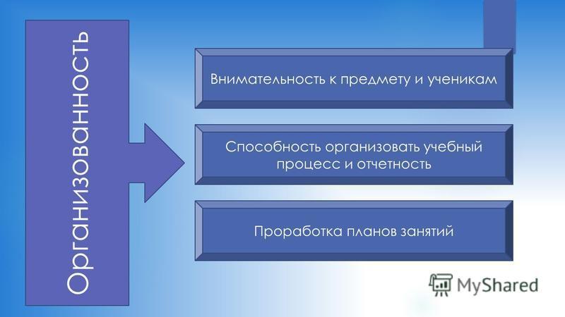 Организованность Внимательность к предмету и ученикам Способность организовать учебный процесс и отчетность Проработка планов занятий