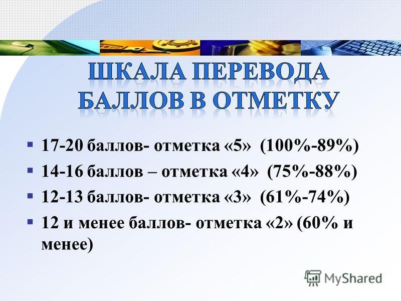 17-20 баллов- отметка «5» (100%-89%) 14-16 баллов – отметка «4» (75%-88%) 12-13 баллов- отметка «3» (61%-74%) 12 и менее баллов- отметка «2» (60% и менее)