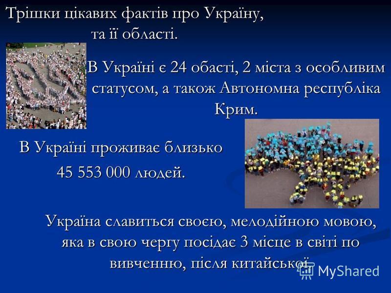 Трішки цікавих фактів про Україну, та її області. В Україні є 24 обасті, 2 міста з особливим статусом, а також Автономна республіка Крим. Україна славиться своєю, мелодійною мовою, яка в свою чергу посідає 3 місце в світі по вивченню, після китайсько