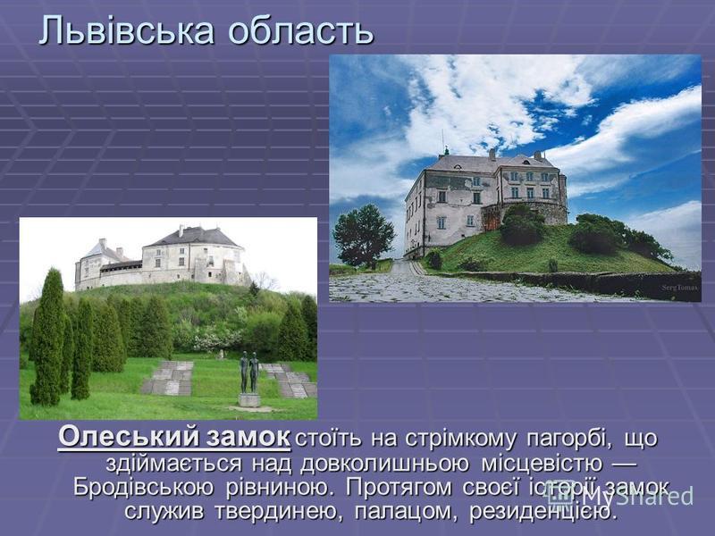 Львівська область Олеський замок стоїть на стрімкому пагорбі, що здіймається над довколишньою місцевістю Бродівською рівниною. Протягом своєї історії замок служив твердинею, палацом, резиденцією.
