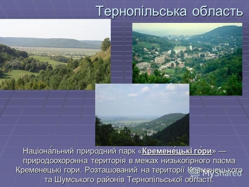 Тернопільська область Націона́льний приро́дний парк «Кремене́цькі го́ри» природоохоронна територія в межах низькогірного пасма Кременецькі гори. Розташований на території Кременецького та Шумського районів Тернопільської області.