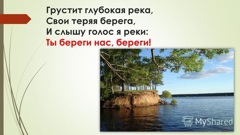 В тревоге рощи и леса, Роса на травах, как слеза! И тихо просят родники: Ты береги нас, береги!