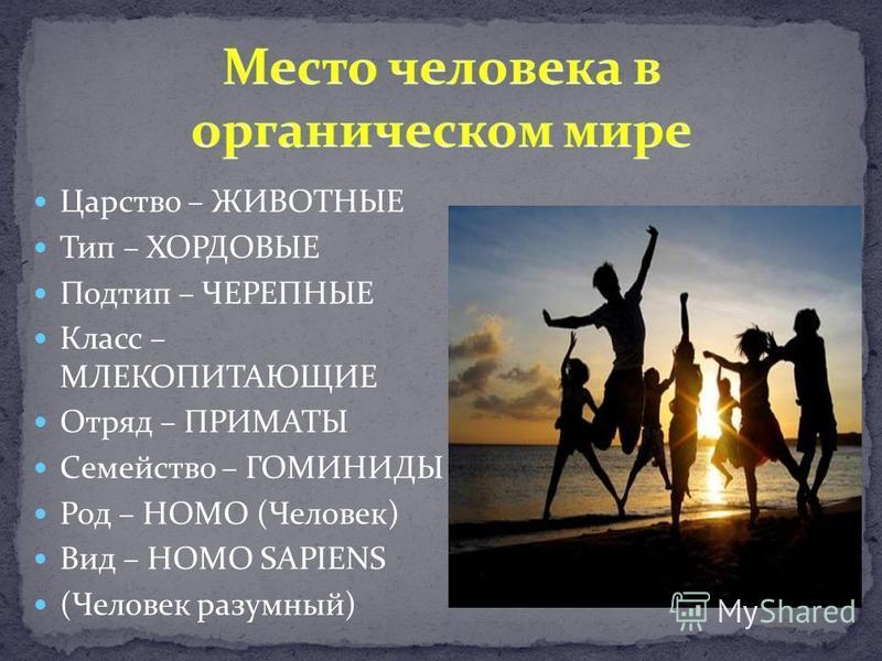 Царство – ЖИВОТНЫЕ Тип – ХОРДОВЫЕ Подтип – ЧЕРЕПНЫЕ Класс – МЛЕКОПИТАЮЩИЕ Отряд – ПРИМАТЫ Семейство – ГОМИНИДЫ Род – HOMO (Человек) Вид – HOMO SAPIENS (Человек разумный)