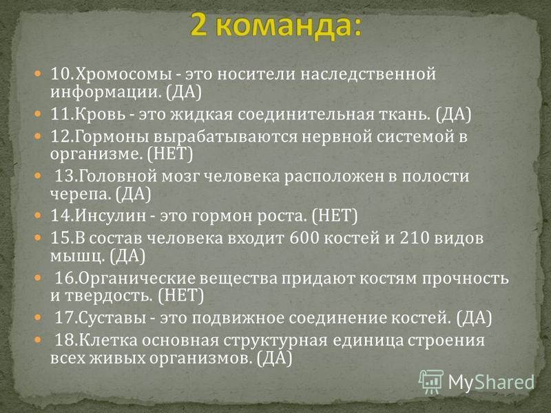 10. Хромосомы - это носители наследственной информации. (ДА) 11. Кровь - это жидкая соединительная ткань. (ДА) 12. Гормоны вырабатываются нервной системой в организме. (НЕТ) 13. Головной мозг человека расположен в полости черепа. (ДА) 14. Инсулин - э
